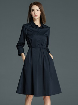 Lapel Long Sleeve Lace-Up Day Dress