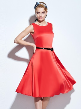 Vintage Solid Color Sleeveless Belt Skater Dress