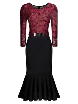 Fashion Lace Patchwork Mermaid Bodycon Dress