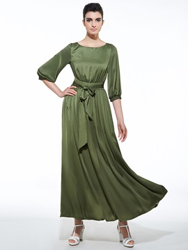 Round Neck Half Sleeve Lace-Up Maxi Dress