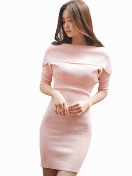Off-the-Shoulder Half Sleeve Sexy Bodycon Dress