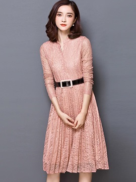 V-Neck Hollow Patchwork Belt Vintage Day Dress