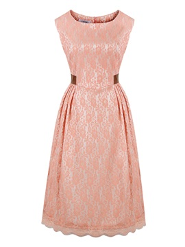 Chic Round Neck Sleeveless Lace Dress