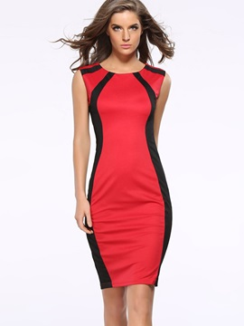 Color Block Sleeveless Fashion Bodycon Dress
