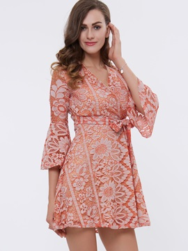 Floral Print V-Neck Bowknot Day Dress