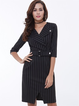 Vertical Striped Notched Lapel Belt Bodycon Dress