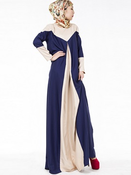 Chic Contrast Color Long Sleeve Maxi Dress