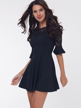 Vertical Striped Lace  Day Dress