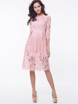 Chic Round Neck 3/4 Sleeve Lace Dress