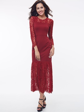 Nine Points Sleeve Lace Patchwork Maxi Dress