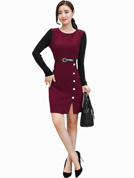Color Block Button Belt Split Work Dress