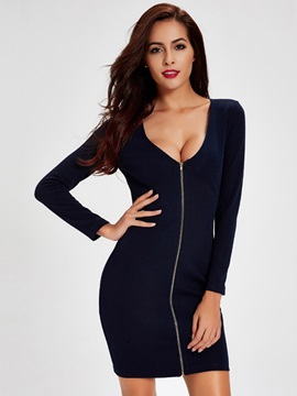 V-Neck Backless Zipper Bodycon Dress