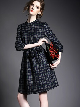 Plaid Stand Collar 3/4 Sleeve Day Dress