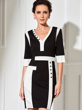Color Block V-Neck Sexy Work Dress