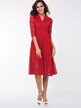 V-Neck 3/4 Sleeve Lace Dress