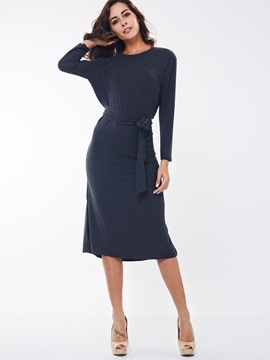 Solid Round Neck Lace-Up Sweater Dress