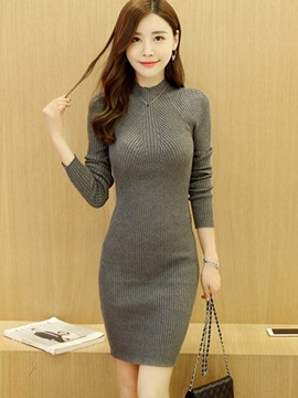 Round Neck Pullover Long Sleeve Sweater Dress