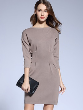 Solid 3/4 Sleeve Mid-Waist Work Dress