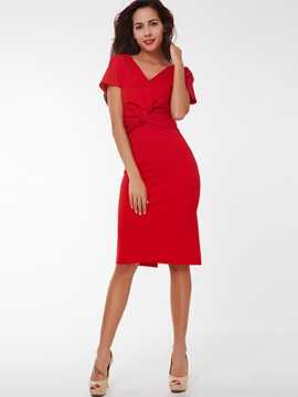Plain V-Neck Short Sleeve Bodycon Dress