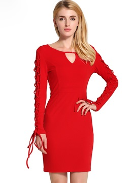 V-Neck Hollow Lace-Up Bodycon Dress