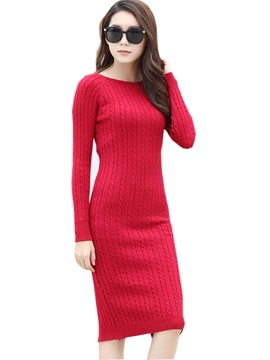 Solid Color Mid-Waist Split Sweater Dress