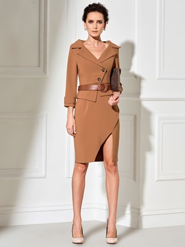 Notched Lapel Double-Layer Button Bodycon Dress