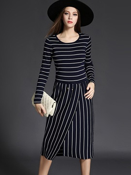 Vertical Striped Round Neck Asymmetric Sweater Dress