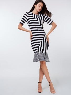 Vertical Striped Patchwork Mermaid Bodycon Dress
