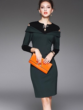 Color Block Batwing Sleeve Hollow Bodycon Dress