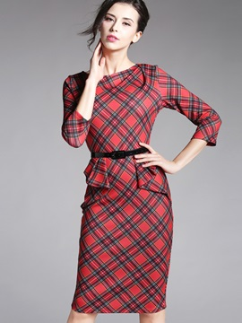 Plaid 3/4 Sleeve Falbala Work Dress