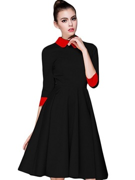 Color Block Peter Pan Collar Expansion Day Dress