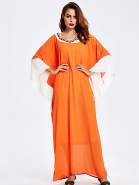 Color Block Patchwork Bead Maxi Dress