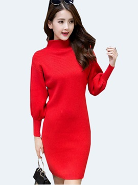 Solid Color Lantern Sleeve Turtleneck Sweater Dress