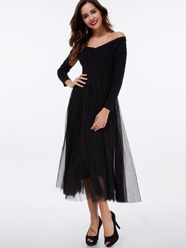 Plain Raglan Sleeve Mesh Maxi Dress