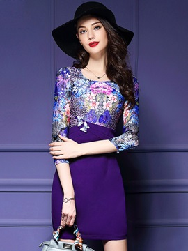 Print 3/4 Sleeve Patchwork Bodycon Dress