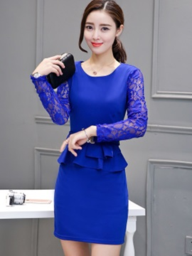 Solid Color Falbala Patchwork Bodycon Dress
