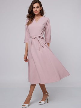 Three-Quarter Sleeve Pocket Belt Day Dress