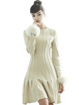 Lantern Sleeve Pleated Zipper Day Dress