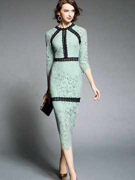 3/4 Sleeve Hollow Patchwork Bodycon Dress