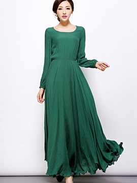 Round Neck Pullover Expansion  Dress