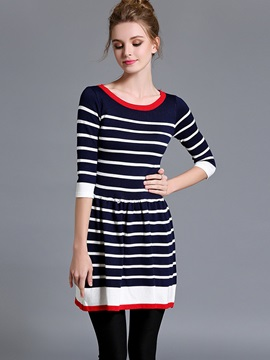 Vertical Striped Contrast Color A-Line Sweater Dress
