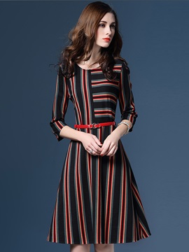 Vertical Striped Patchwork Belt Day Dress