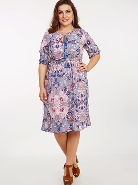 Floral Print High-Waist Lace-Up Day Dress
