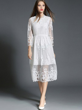 Stand Collar Patchwork Hollow Lace Dress