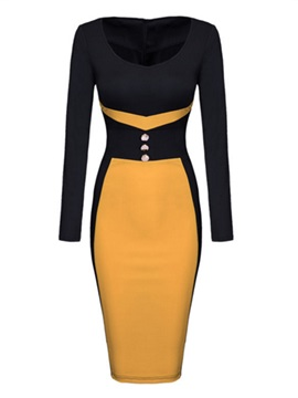 Color Block Button Zipper Bodycon Dress