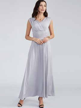 Plain V-Neck Expansion Maxi Dress