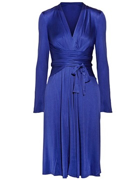 Solid Color V-Neck Pleated Day Dress