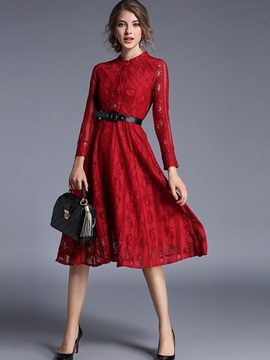 Floral Print Stand Collar Belt Lace Dress