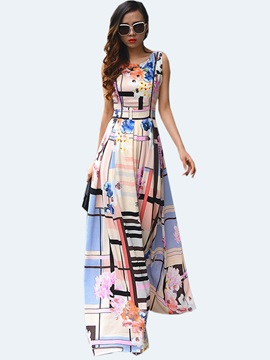 Round Neck Sleeveless Contrast Color Maxi Dress