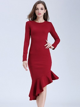 Solid Color Falbala Asymmetric Bodycon Dress